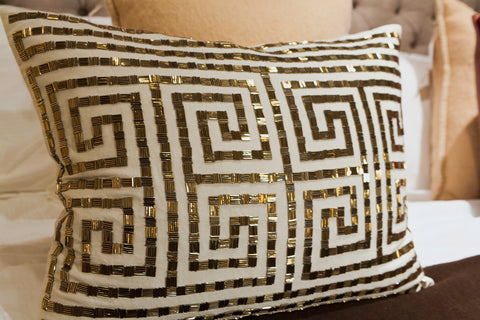 Creme Linen/Gold Beads Pillow - Callisto Home
