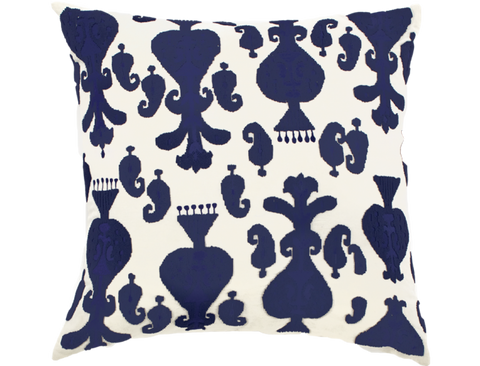 Creme Linen Navy Beads Pillow - Callisto Home