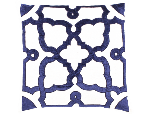 Creme Linen Navy Velvet Pillow - Callisto Home