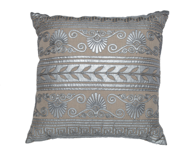 Creme Silk and Silver Embroidery Pillow - Callisto Home