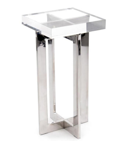 Polished Nickel and Crystal Martini Table - John-Richard