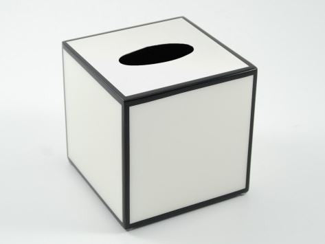 Cube Tissue Box Cover White with Black Trim - Pacific Connections