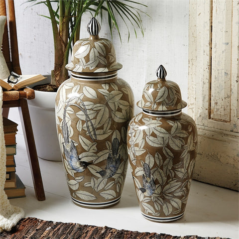 Decorative Temple Jars Feathers and Birds Small - Two's Company