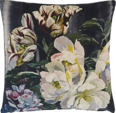 Delft Flower Noir Decorative Pillow - Designers Guild