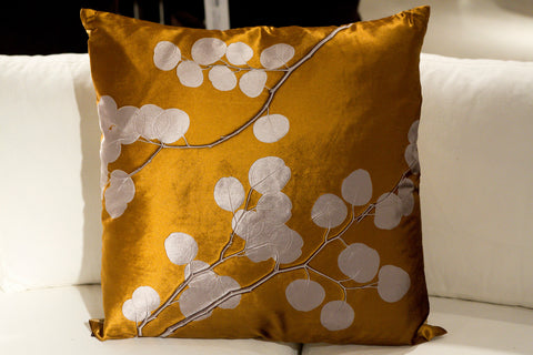 Eucalyptus On Champagne Pillow - Aviva Stanoff Design
