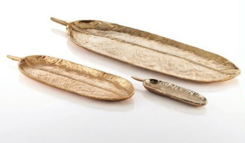 Feather Long Tray Small Gold - Nima Oberoi-Lunares
