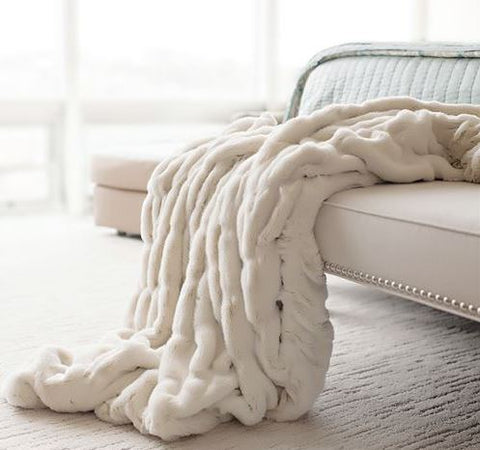 Ivory Mink Couture Faux Fur Throw - Fabulous Furs