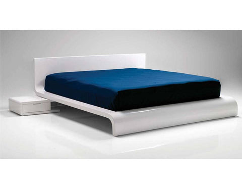 Flo White High Gloss Queen Bed - Mobital