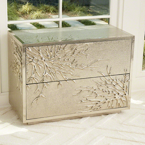 Flower Burst 2 Drawer Cabinet, Silver - Global Views