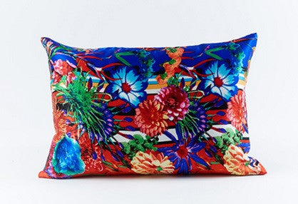 Flower Stripe Silk Pillow Blue - Ann Gish