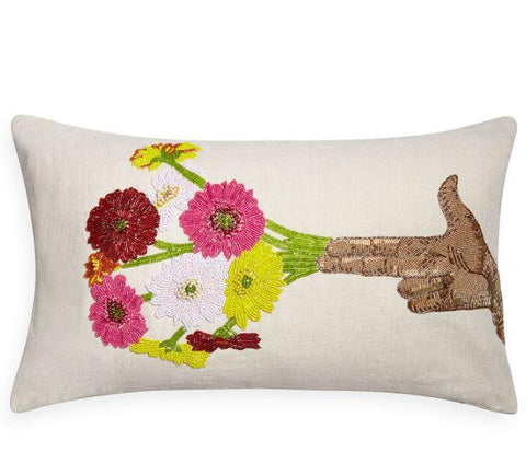 Flower Hand Beaded Pillow - Jonathan Adler
