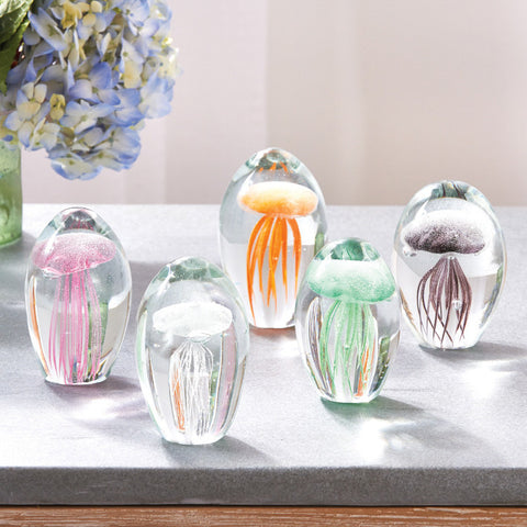 Clear Fossilise Small Jellyfish Art Glass Sculpture - Tozai Home