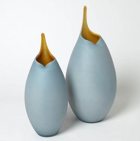 Frosted Blue Vase With Amber Casing - Global Views