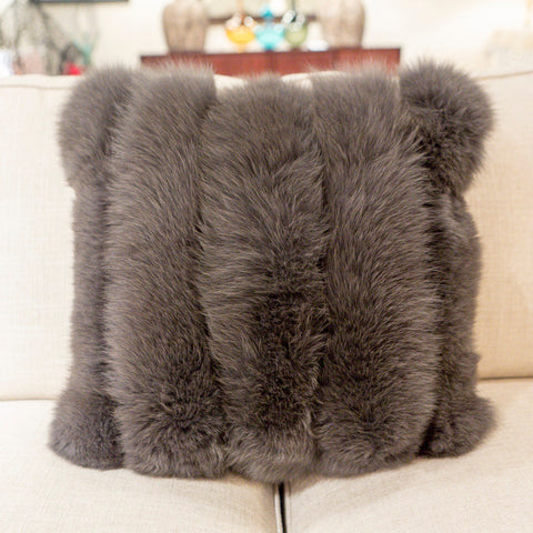 Fox Strip Warm Coal Pillow - Adri Collection