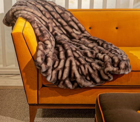 Shadow Mink Couture Faux Fur Throw - Fabulous Furs