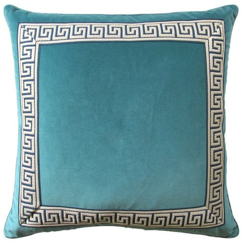 Giorgio Greek Key II Teal Pillow 22x22 - Ryan Studio