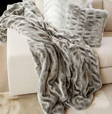 Glacier Grey Mink Couture Collection Faux Fur Throw - Fabulous Furs
