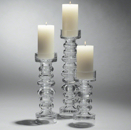 Glass Ribbed Candle Holder - Global Views