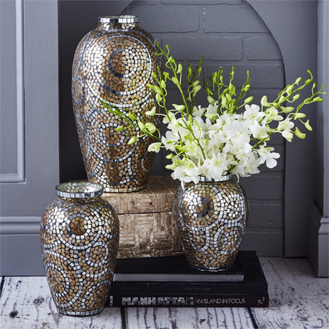 Golden Mosaic Tile Vase - Tozai Home