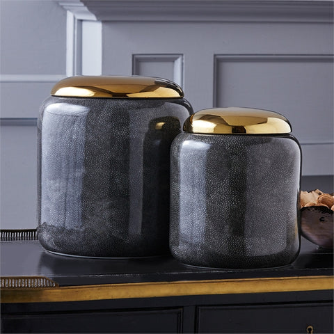 Grey Shagreen Jar - Tozai Home