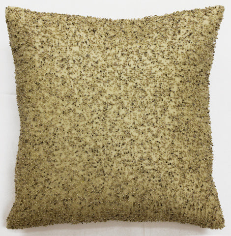Heavy Beaded Beige Pillow - Sabira Collection