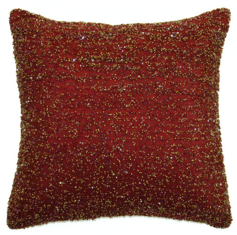 Heavy Beaded Gold on Burgundy Pillow - Sabira Collection