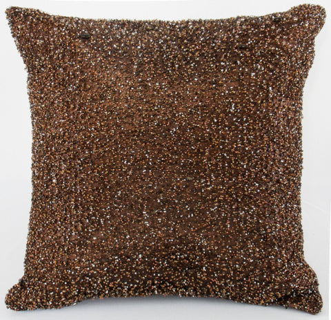 Heavy Beaded Chocolate Pillow - Sabira Collection