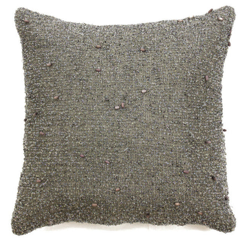 Heavy Beaded Charcoal Pillow - Sabira Collection