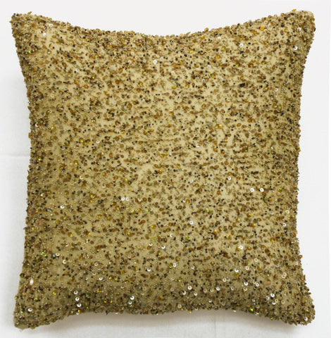 Heavy Beaded Golden Beige Pillow - Sabira Collection
