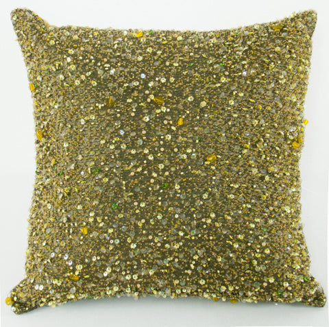 Heavy Beaded Olive Pillow - Sabira Collection