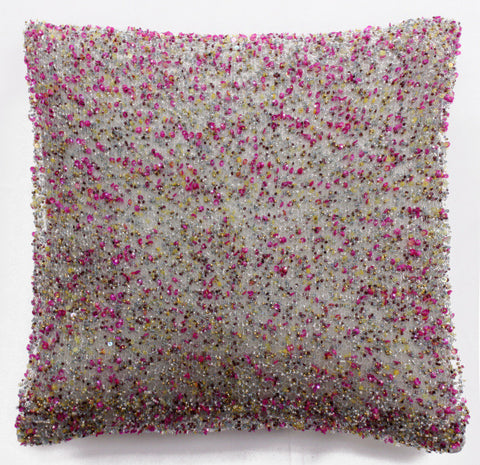 Heavy Beaded Pink & Yellow on Gray Pillow - Sabira Collection
