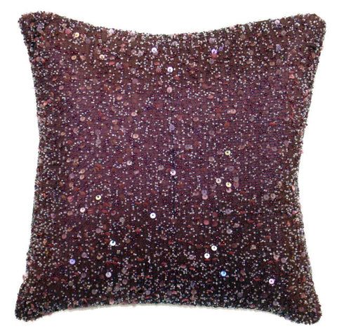 Heavy Beaded Raspberry on Plum Pillow - Sabira Collection