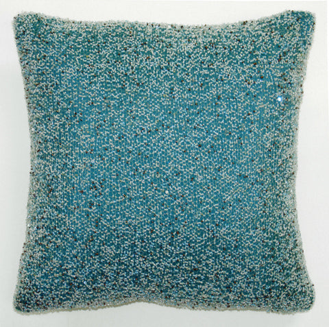 Heavy Beaded Sky on Teal Pillow - Sabira Collection