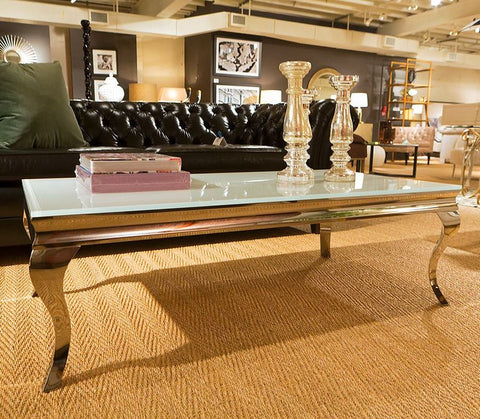 Stainless Steel Coffee Table with Thick Tempered Glass Top - Howard Elliott Collection