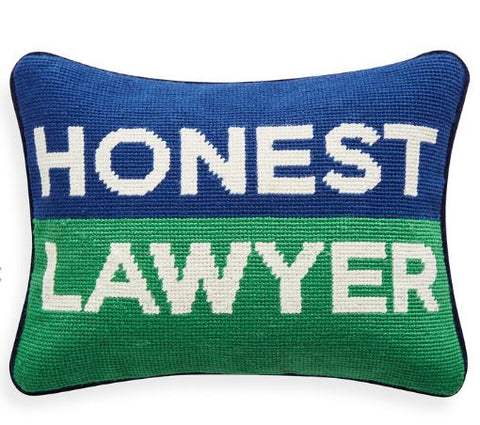 Honest Lawyer Needlepoint Pillow - Jonathan Adler