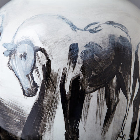 Hand Painted Horse Jar - Tozai Home