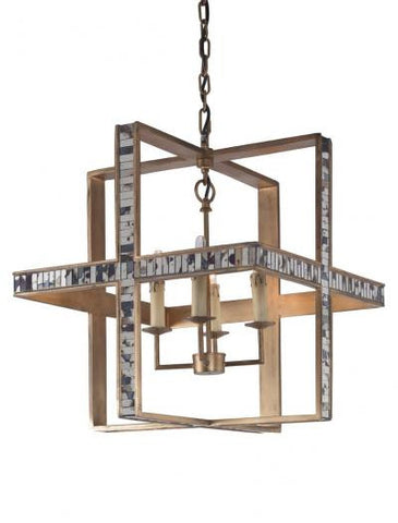 Hanover Chandelier,  Aged Mirror - Mr. Brown