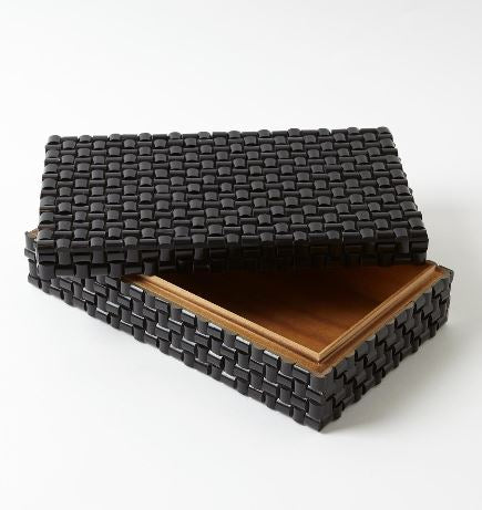 Woven Horn Boxes, Black - Global Views