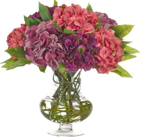 Hydrangea, Glass Urn - Natural Decorations