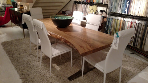 Spalted Maple Live-Edge Slab With Stainless Steel Base Dining Table - Lancaster Iron and Wood