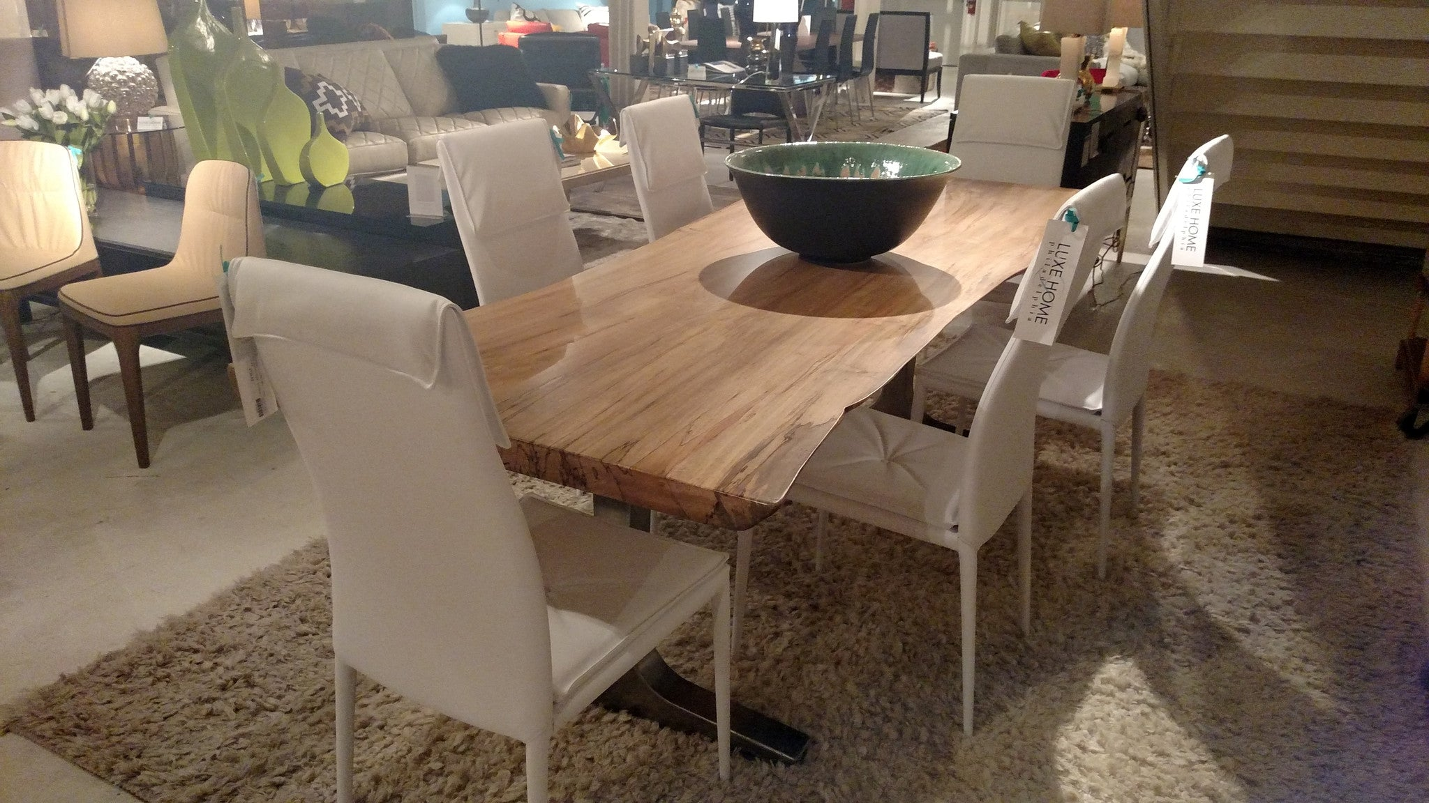 Spalted Maple Live Edge Slab With Stainless Steel Base Dining