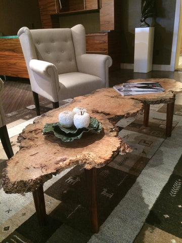 Burled Live Edge Coffee Table - Wood Shop