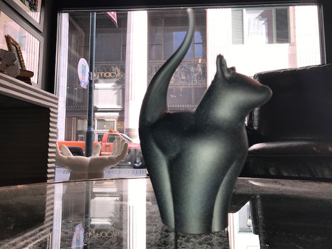 Black Frosted Glass Cat - Teign Valley Glass