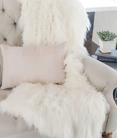 Ivory Tibetan Lamb Signature Series Throw - Fabulous Furs
