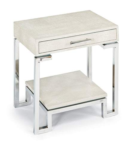 Ivory Grey Shagreen End Table - Regina Andrew Design