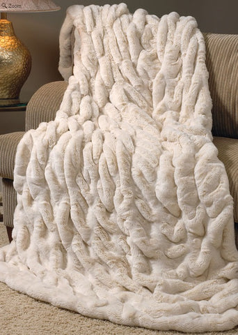 Ivory Mink Couture Faux Fur Throw - 60