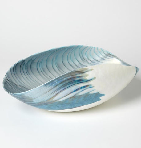 Ivory Turquoise Feather Swirl Murano Glass Collection - Global Views