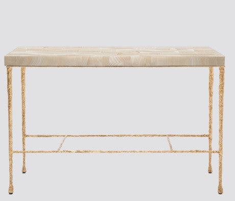 Jovan Console, Clamstone Top /Gold Pitted Iron Base - Made Goods