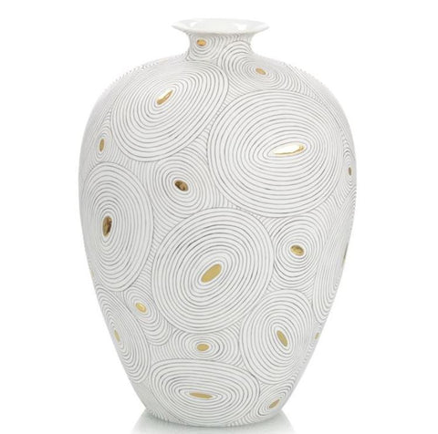White Porcelain Vase with Gold II - John-Richard
