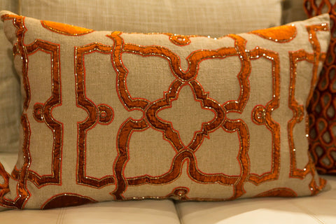 Jute Linen/Orange Velvet Pillow - Callisto Home